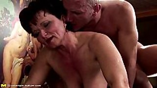 Hairy older takes anal creampie