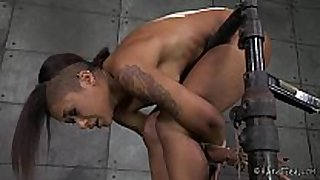Ebony cutie in strict rope slavery