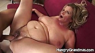 Hairy granny cum-hole for younger man