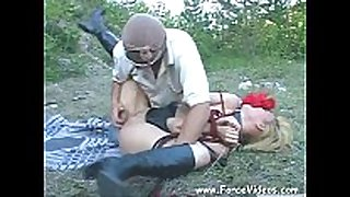 Masked dude rapes a women hard in garden, extrem...