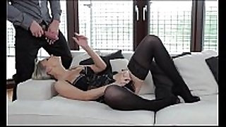 Strapon double penetration for hot blond from ...