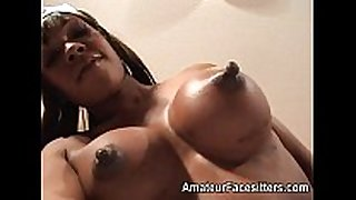 Long nippled black cheating hotwife facesits an aged man