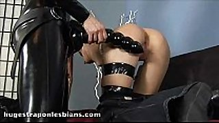 Role playing lesbians disrobe and fuck with a h...