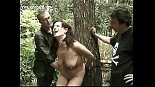 Hot serf tied to a tree gets alot of clamps re...